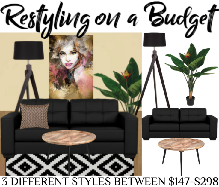 The mustard coloured wall is the perfect backdrop for the Captivating art deco canvas print. See our other examples on how you can change the look of an entire room under budget with eye catching pieces via our site. We have created these lounge inspiration images using Fantastic Furniture items avail in our App - download and create your own ideal space and more. #homestyling #budgetstyling #restyle #loungeinspo #homeinspo #blacklounge #blacklamp #birdsofparadise #artdeco #fashionapp #collage
