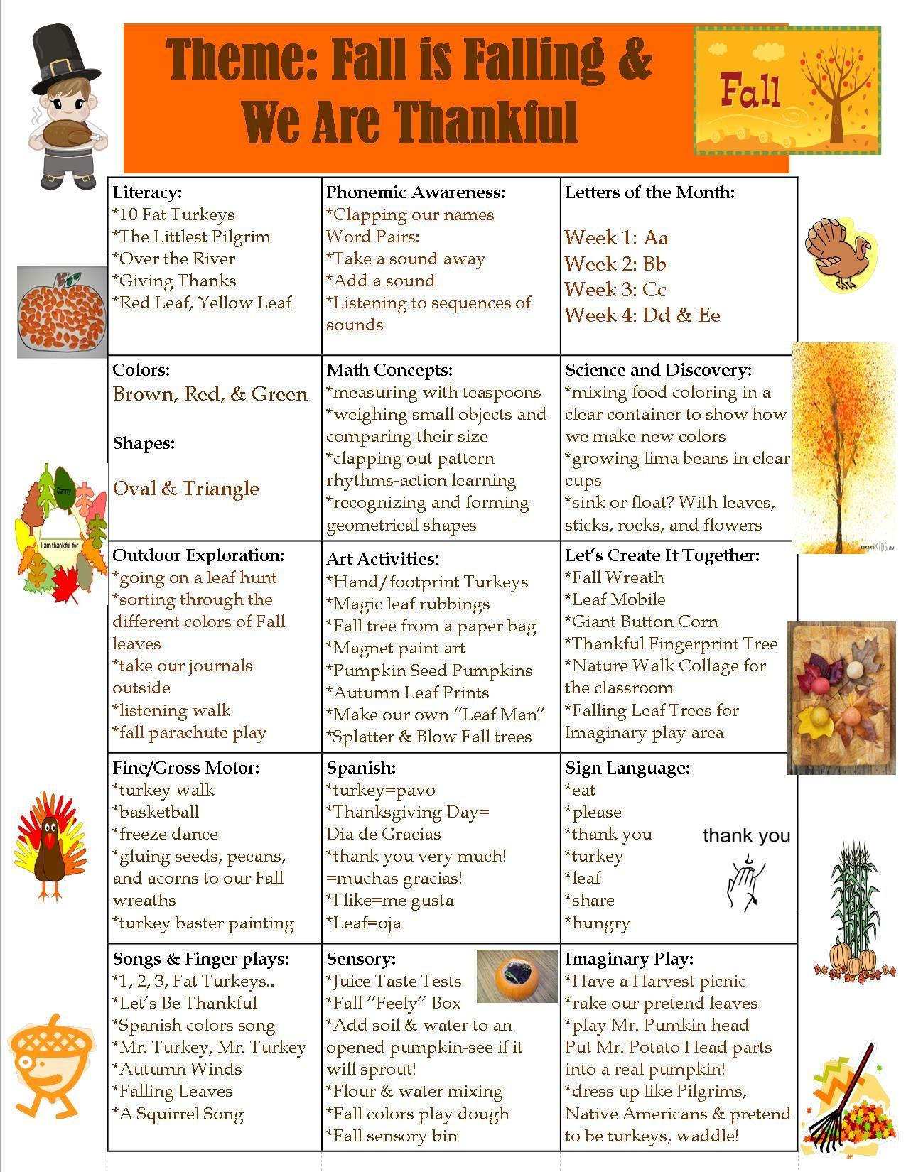 Preschool Fall And Thanksgiving Theme