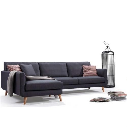 Modern Mid Century L Shaped Left Facing Sectional Sofa In Navy Blue Grey Linen Modern Sofa Sectional Modern Couch Sectional Mid Century Modern Sectional Sofa
