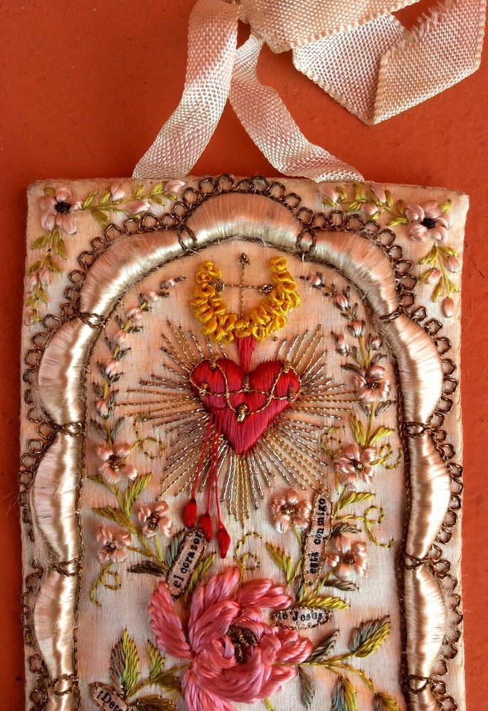 antique, beautiful, sacred heart of jesus, silk embroidery ...