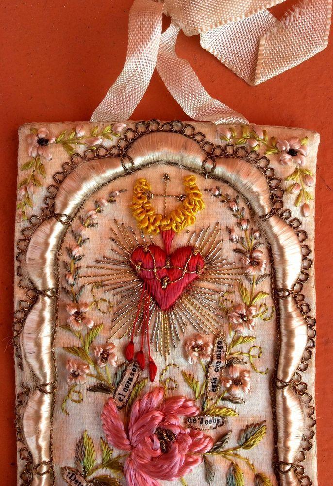 Antique Beautiful Sacred Heart Of Jesus Silk Embroidery Scapular Peru Detente | Sacred Heart ...