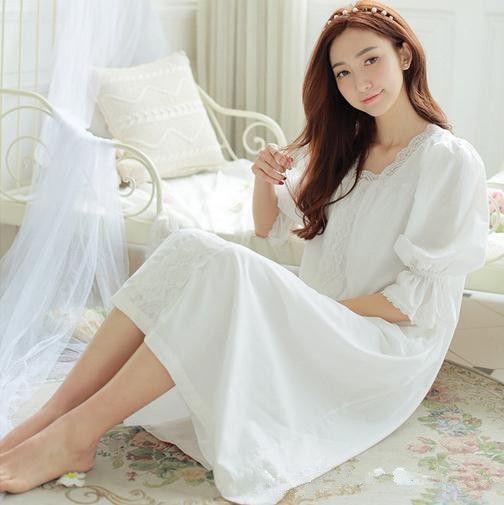 g nstige nachthemd frauen wei e lange pijamas prinzessin nachtw sche h lse halben fr hling kleid. Black Bedroom Furniture Sets. Home Design Ideas
