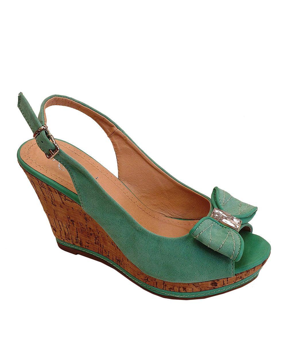 2ff5b17927e Westwood Footwear Green   Silver Gem Nova Slingback Wedge by Westwood  Footwear