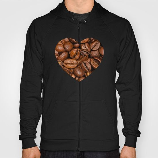 Shiny brown coffee beans Heart Fleece Zip-up Hoody by #PLdesign #coffee #CoffeeLove #CoffeeGift