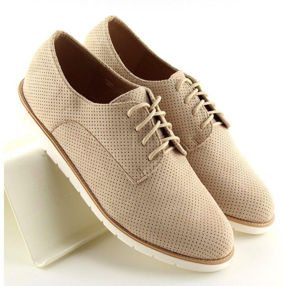 Mokasyny Damskie Sznurowane Bezowe T297 Beige Bezowy Loafers For Women Moccasins Women Women Shoes