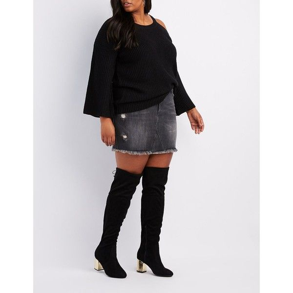 a300d46c8 Charlotte Russe Wide Width Gold Heel Over-The-Knee Boots ($20 ...