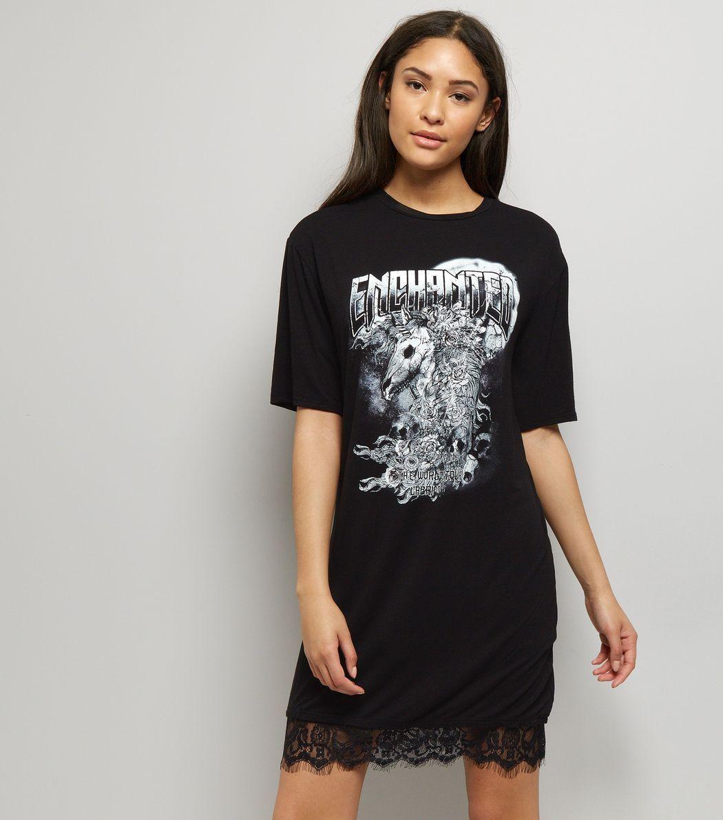 Black enchanted rock print lace hem tshirt dress new look new