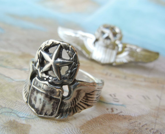 Pilot Wings Ring Military Wife Jewelry Silver Pilot S Wings Ring