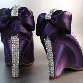 Plum Wedding Wedges With Rhinestone Strip On Heel And Matching Bow Weddingshoes Purple Heelspurple