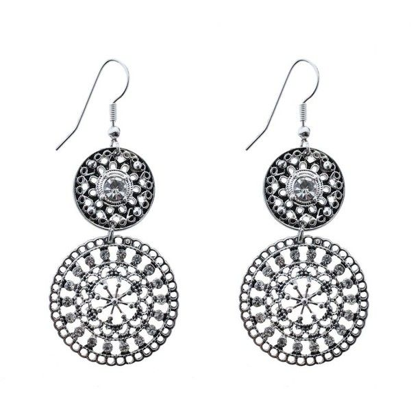 Circle Stone Double Drop Earrings Earrings (430 RUB) ❤ liked on Polyvore featuring jewelry, earrings, stone jewelry, stone jewellery, circle earrings, circle jewelry and stone drop earrings