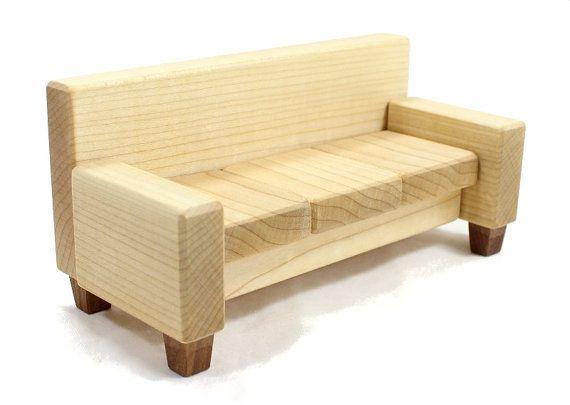 Miniature Sofa or Couch - Wood Dollhouse Furniture Looks Like ...