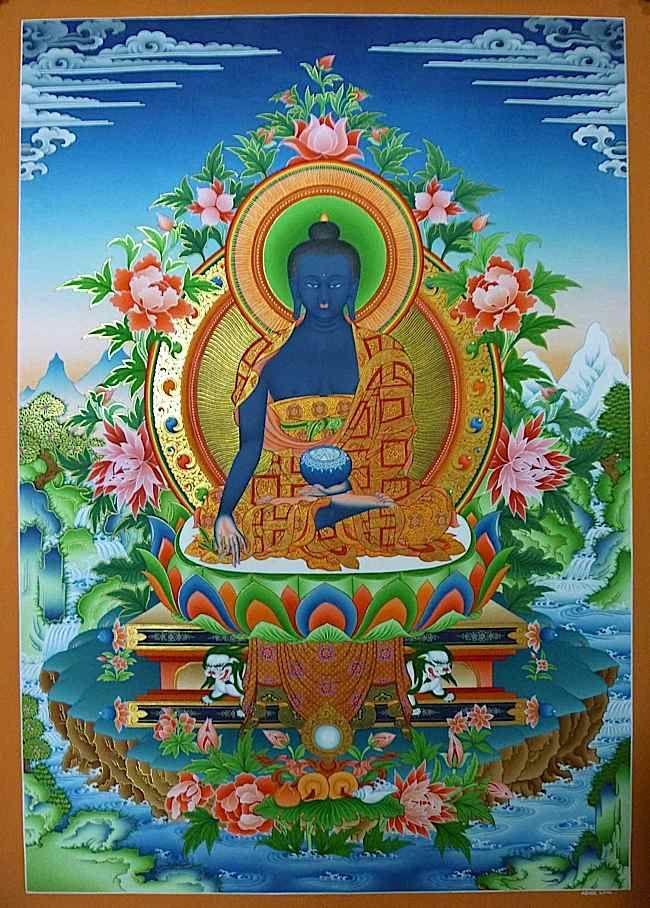 The Lapis Lazuli Medicine Guru is revered in many countries by different  names: Sanye Menla (Tibetan སངས་རྒྱས་སྨན་བླ།, or just Menla), Medicine … |  그림 및 불교