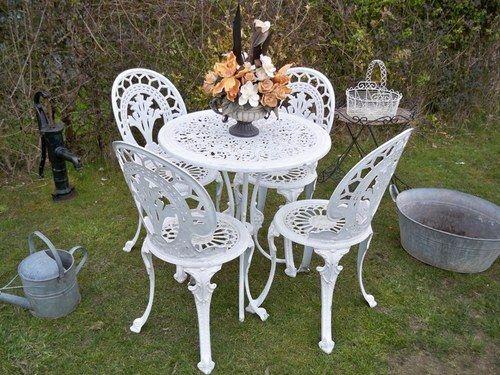 Prime Vintage Cast Aluminium Garden Table And 4 Chair Patio Shabby Interior Design Ideas Gentotryabchikinfo