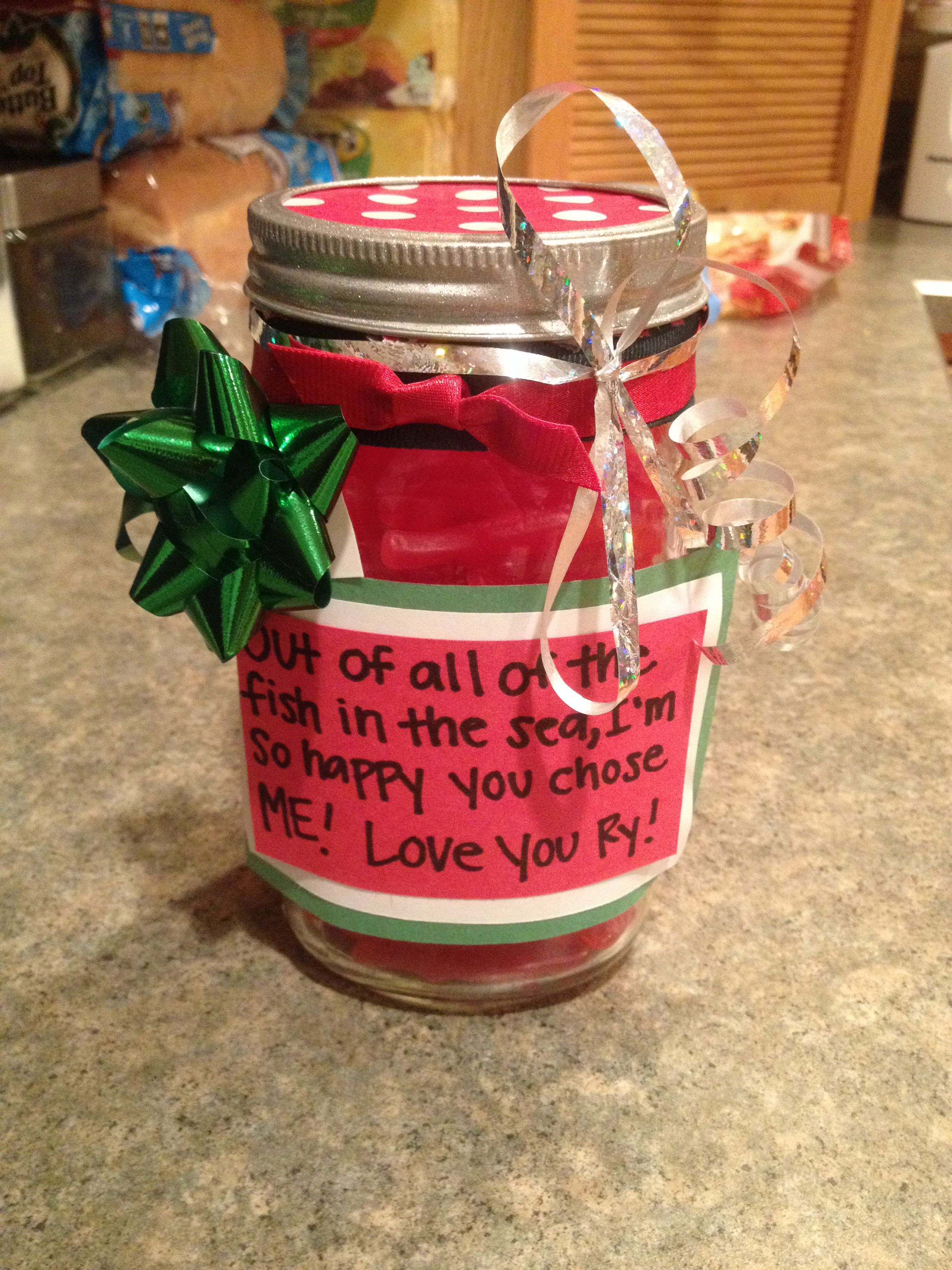 Diy Christmas Present For The Boyfriend Mason Jar Filled With Sweetish Fish Diy Christmas Presents Christmas Mason Jars Diy Christmas Ideas For Boyfriend