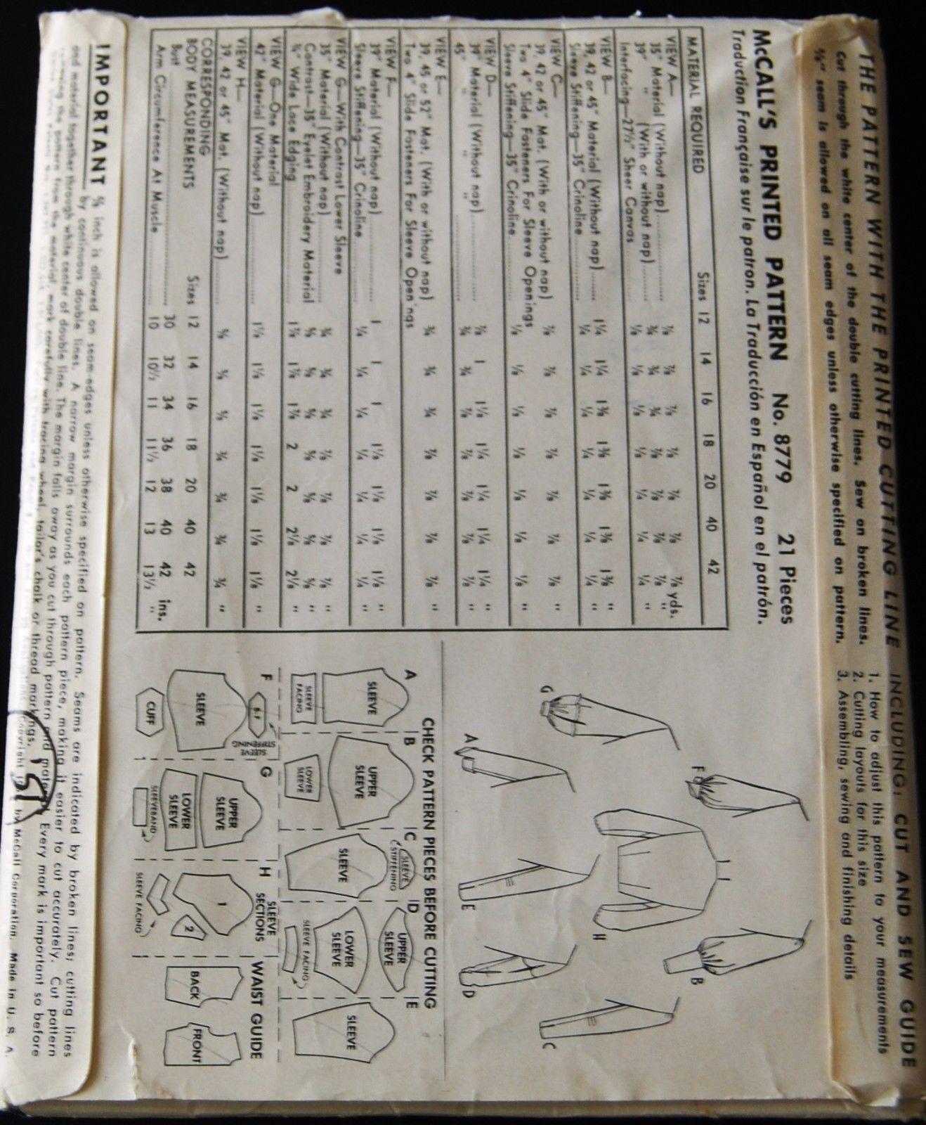 Vintage Original McCall's 50's Set 8 Sleeves Pattern No 8779 (Back of envelope)