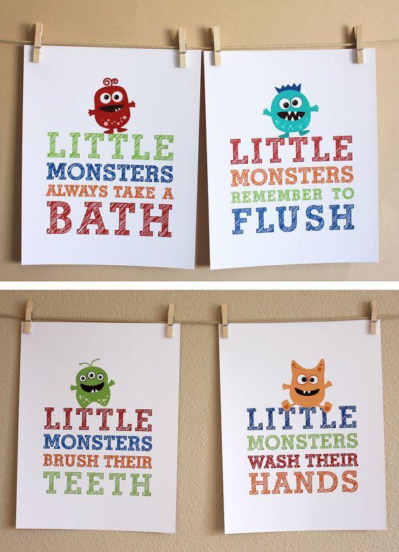 Charmant Monster Bathroom Art Boy FOUR 5x7 Prints By HopSkipJumpPaper, $52.00.  Bathroom Wall DecorBathroom SignsBathroom IdeasBath ...