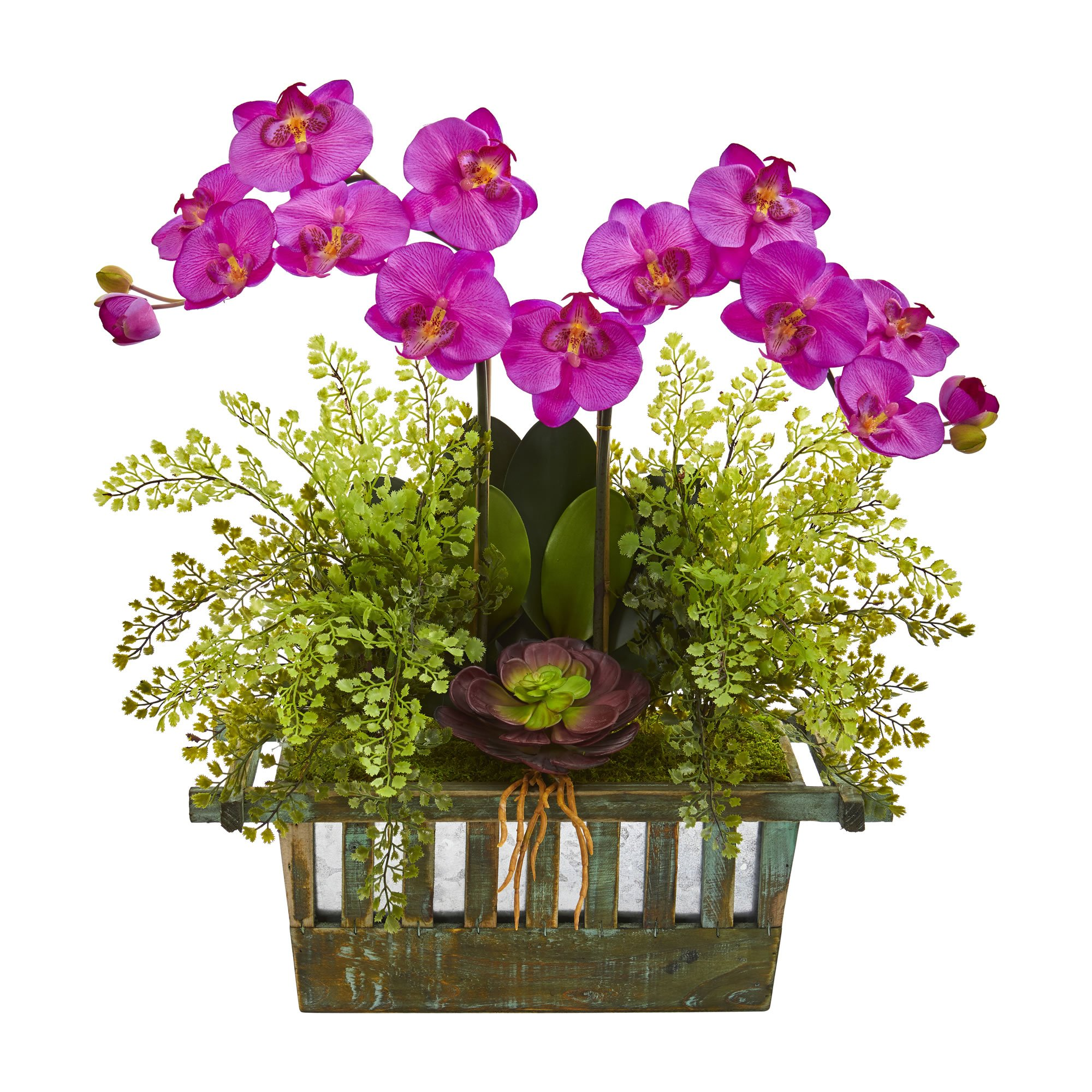 Artificial flowers orchid succulent and maiden hair purple
