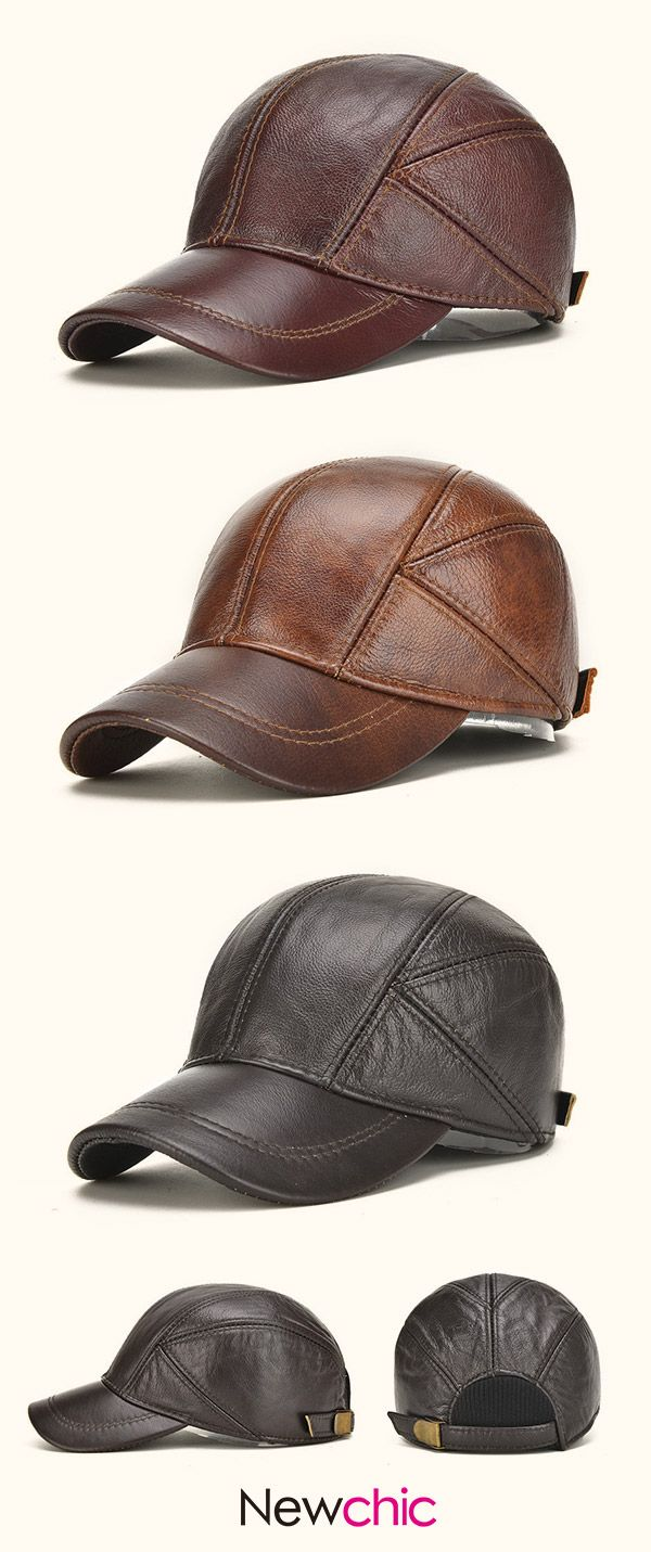mens winter genuine leather baseball caps with ear flaps outdoor