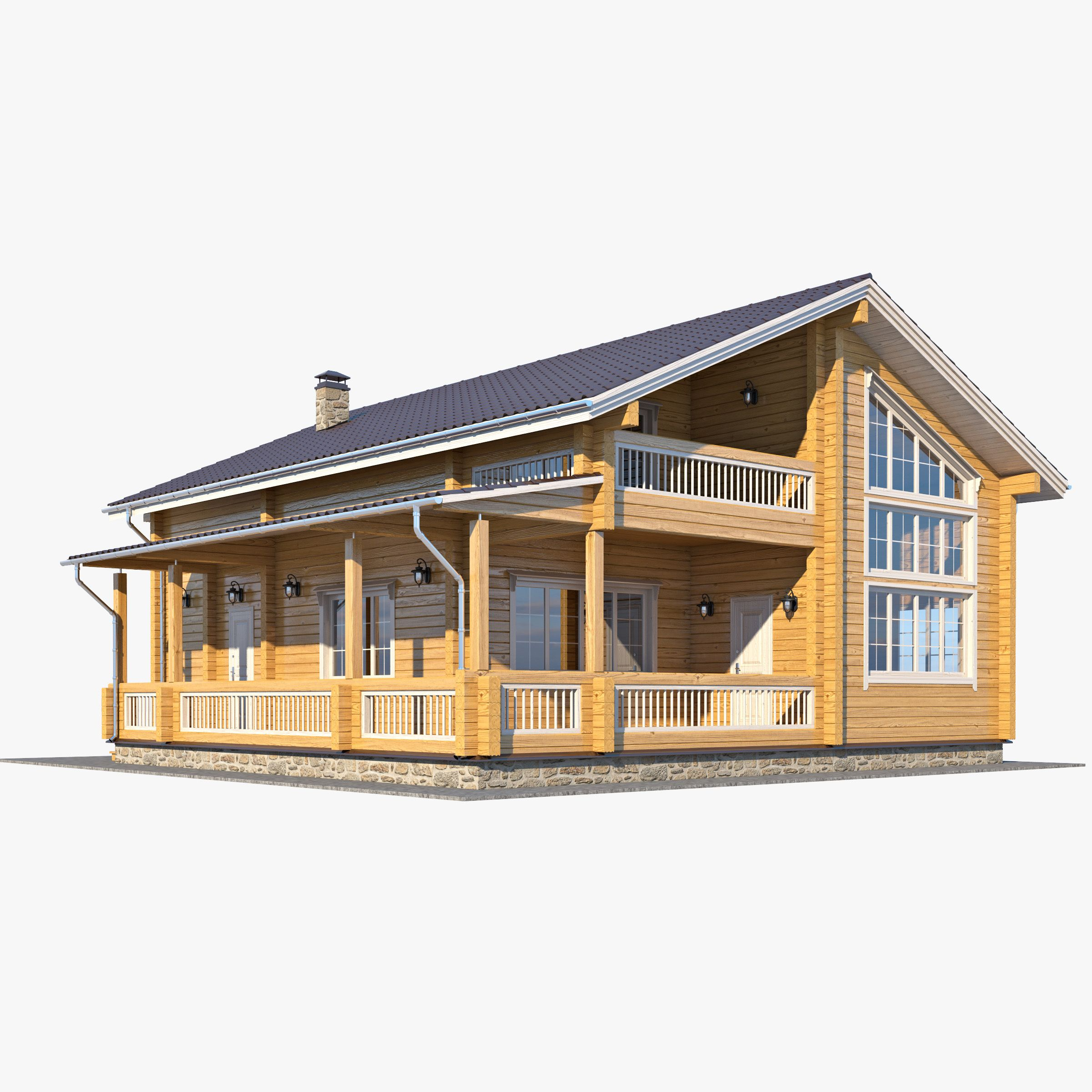 Quality Home Exteriors: Log Homes, House 3d Model, House