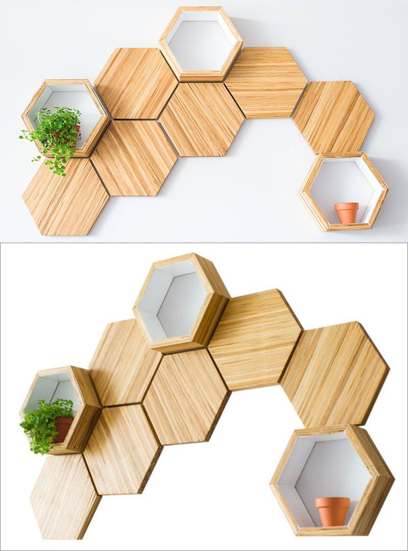 Recycled Chopsticks Are Turned Into These Honeycomb Shelves And Wall ...