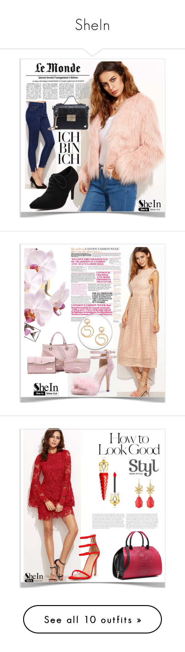 """""""SheIn"""" by kiveric-damira ❤ liked on Polyvore featuring Industrie, Christian Louboutin, Kate Spade and H&M"""