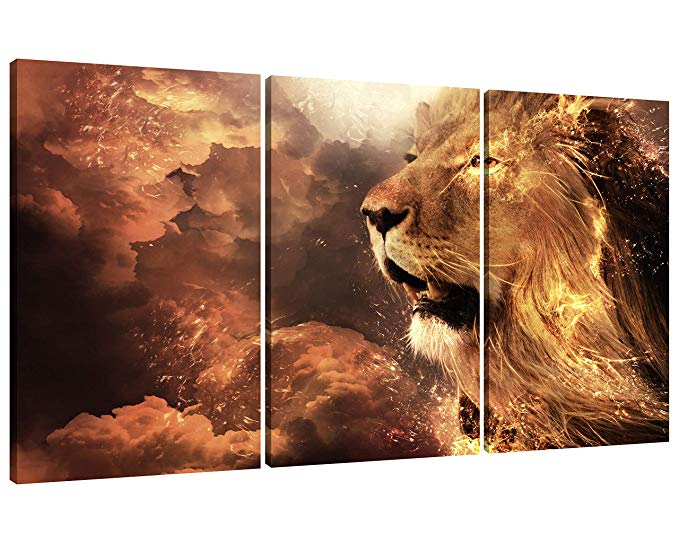 Amazon Com Nan Wind 3 Panel Wall Art Lion Painting Print On Canvas Animal Pictures For Home Decor Decorati Lion Painting Modern Wall Art Canvas Panel Wall Art