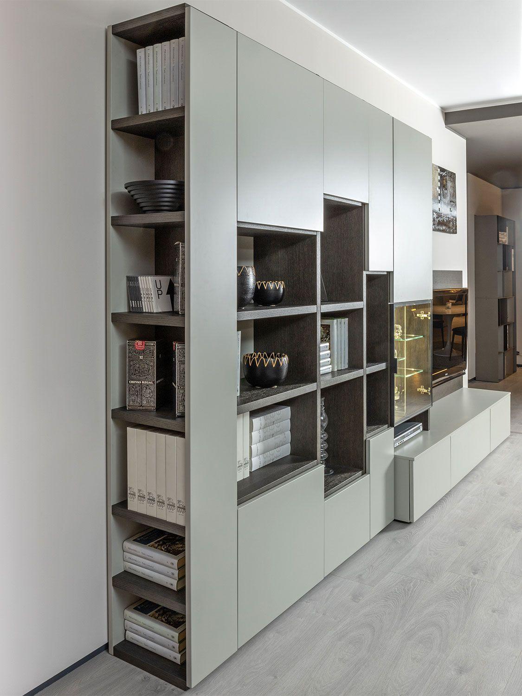 Effezeta Parete attrezzata Porta TV e libreria Rovere Moderna Soggiorno Salotto Salone