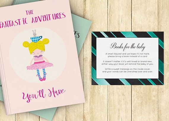 bring a book baby shower invitation insert instead of card stock babys first library black aqua - Printable Invitation Card Stock