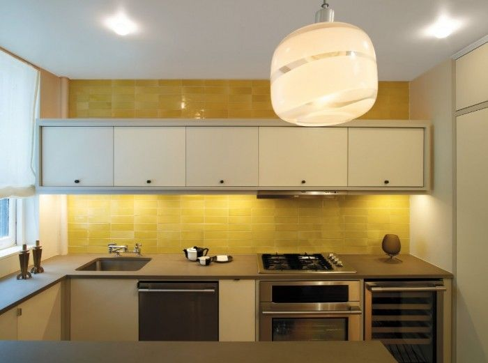Yellow Tile Kitchen Backsplash Ideas And White Wall Kitchen Cabinet ...