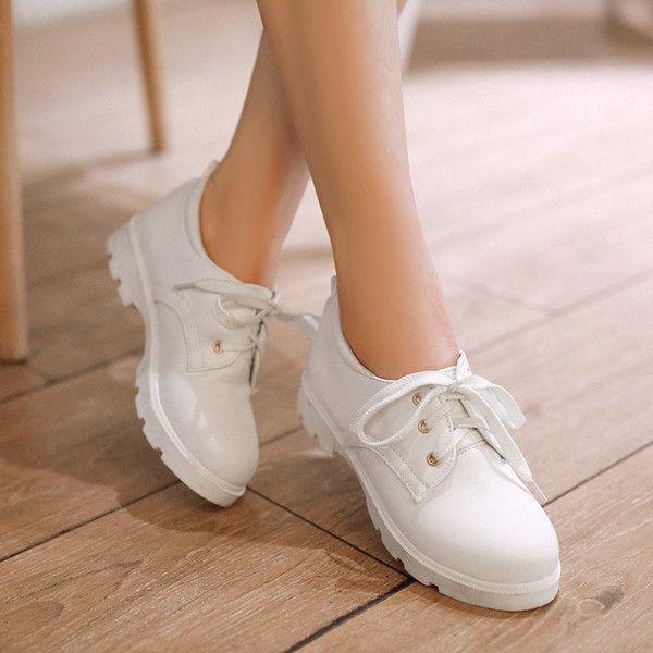 2016春季新品韩版小清新甜美淑女系带学生小白鞋圆头中跟少女单鞋
