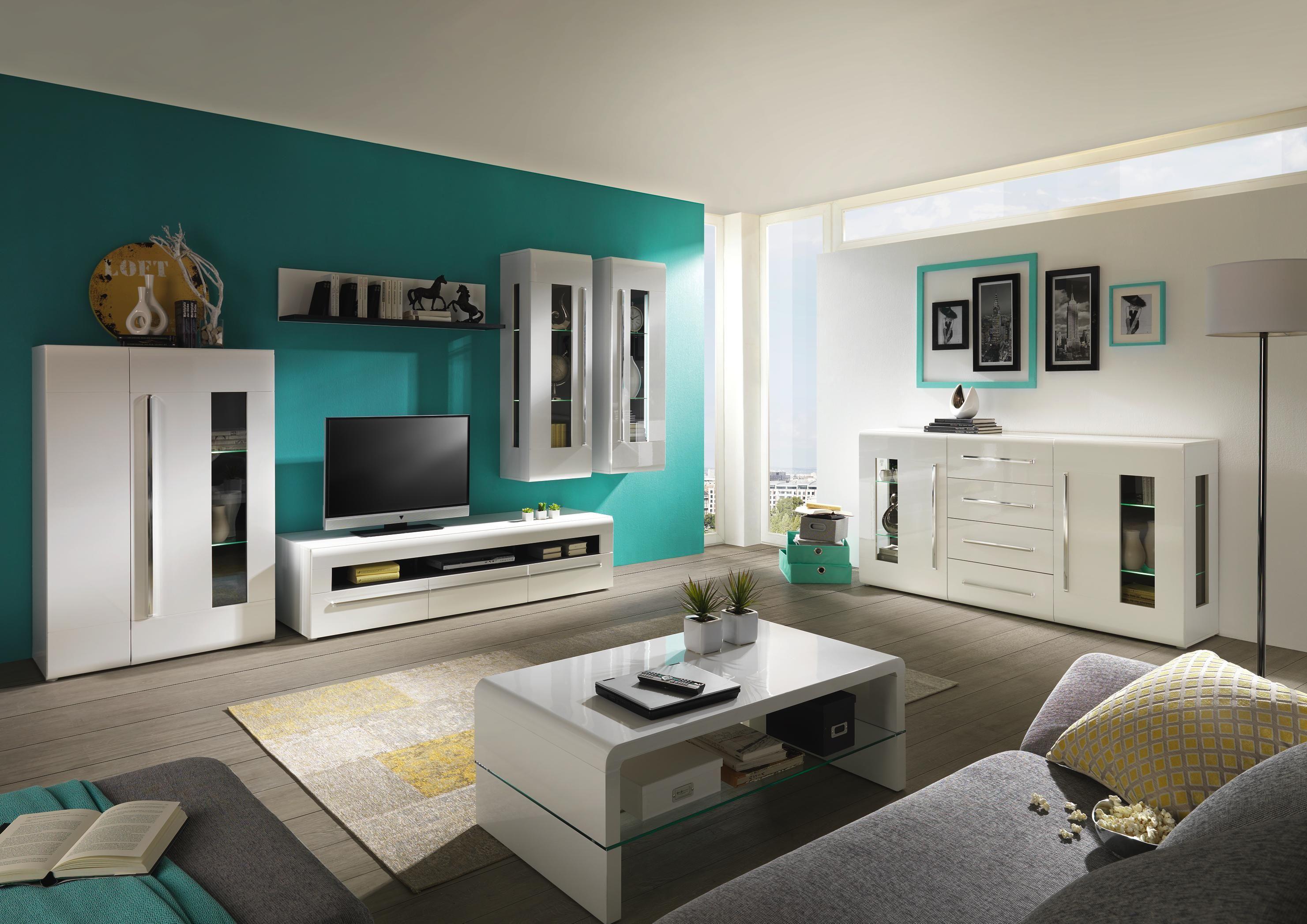 Gro z gige wohnwand in wei f r ihr modernes wohnzimmer for Wohnzimmer wohnwand