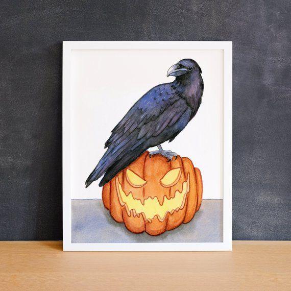 Raven on Jack-o-Lantern Digital Print - Halloween Art - Bird Print