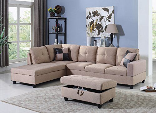 Beverly Furniture 3 Piece Sectional Microfiber L Shape Sofa With Ottoman Light Brown