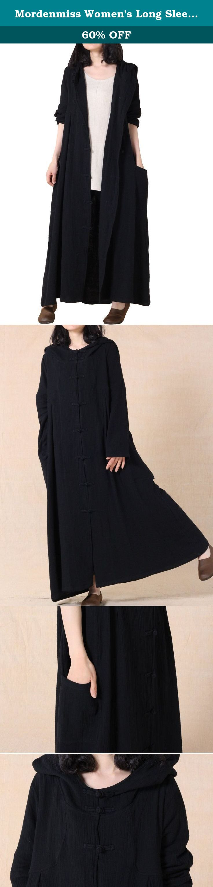 Mordenmiss womenus long sleeve hooded frog button coat with two