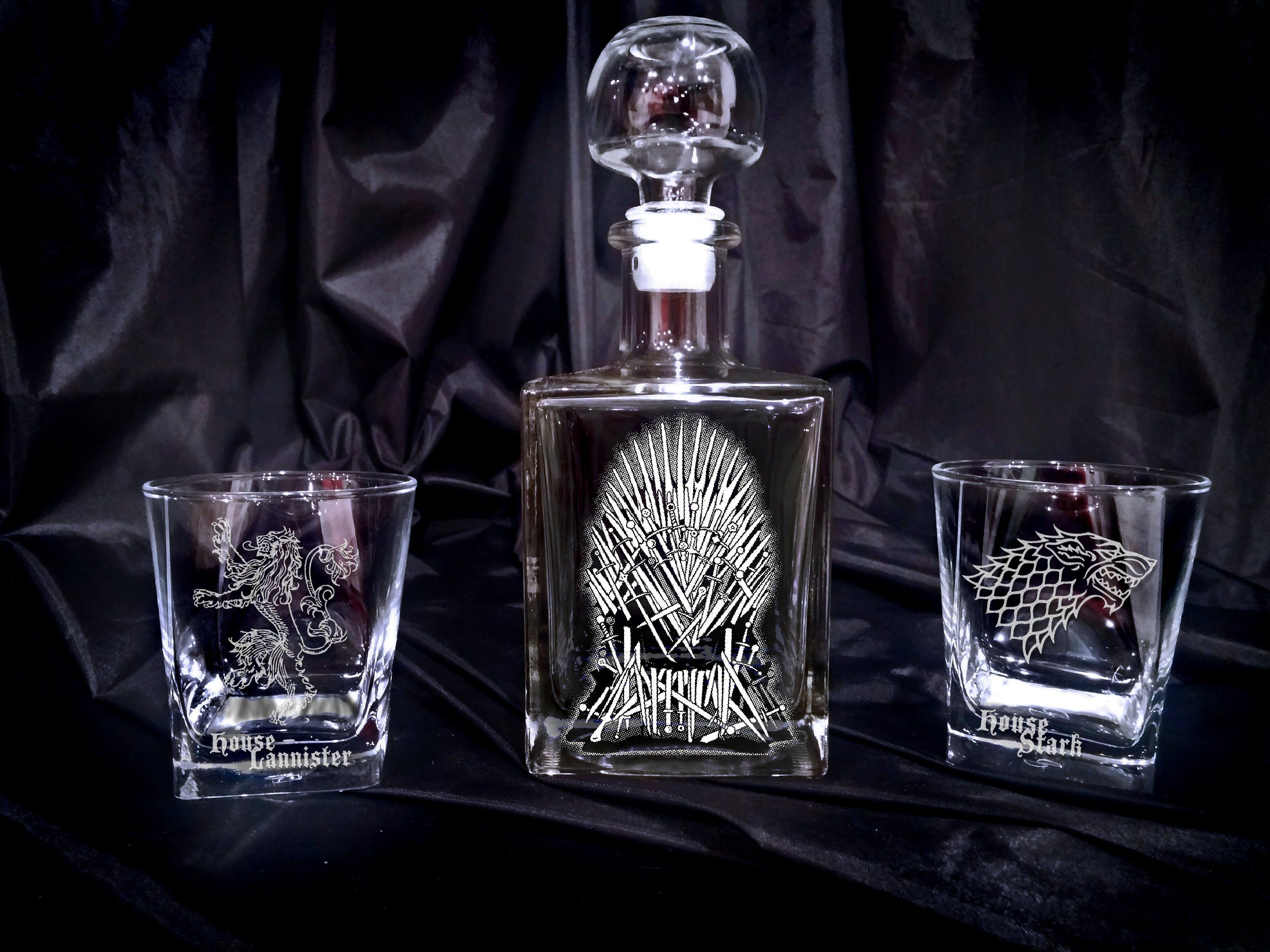 Game of thrones whiskey glass set gift personalized gift