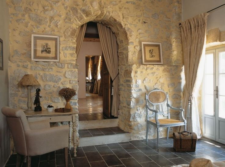 Awesome Fantastic Traditional French Country House : Awesome Fantastic  Traditional French Country House With Natural Stone Wall And Brown Sofa  Chair Lamp ...