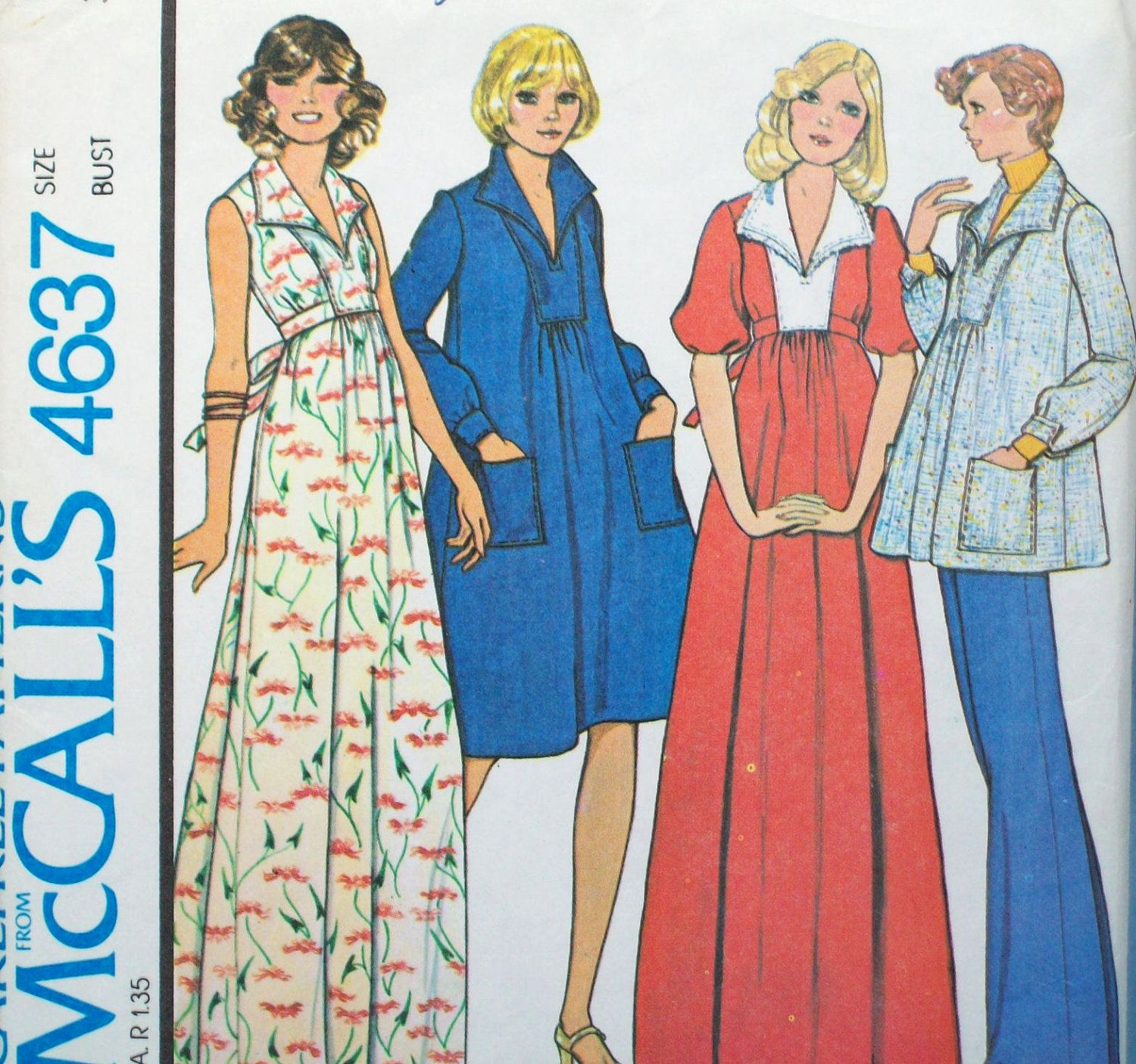 Vintage 1970s maternity sewing pattern mccalls 4637 maternity vintage 1970s maternity sewing pattern mccalls 4637 maternity dress or top and pants size 12 bust 34 uncut ombrellifo Images