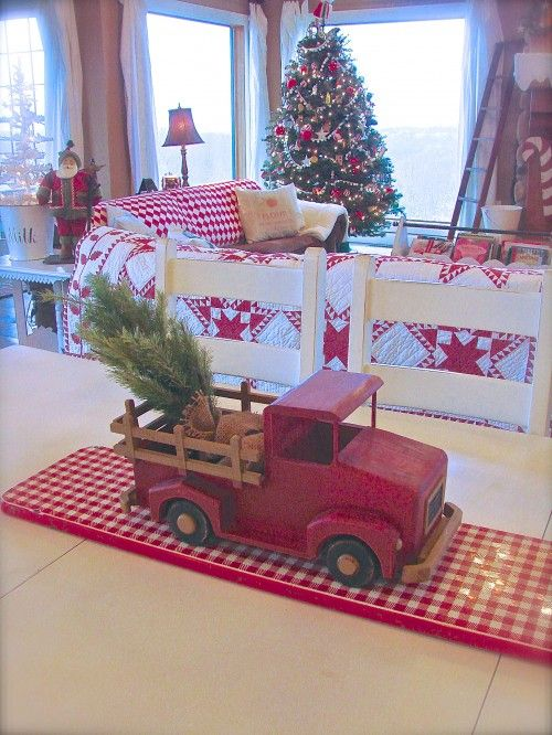 Love This Red Truck As The Centre Of Attention On This Country Dining Table White Christmas Decor Christmas Bedroom Christmas Decorations