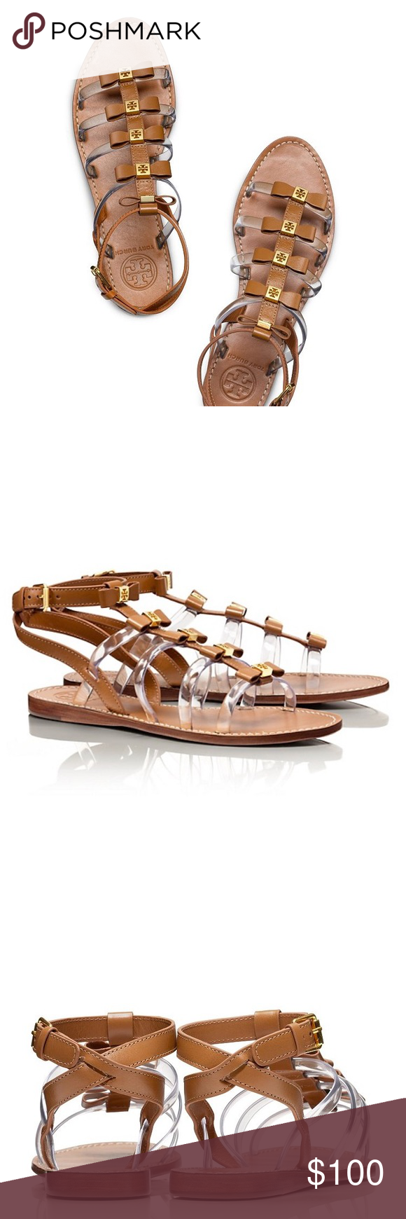 Tory Burch Sandals A classic gladiator silhouette gets unexpected embellishments on our Kira Flat Sandal. The strappy shape features a combination of rich leather and translucent PVC, complete with dainty gold logo-accented bows. A flattering, wear-with-all style, it takes the guesswork out of warm-weather accessorizing. Tory Burch Shoes Sandals