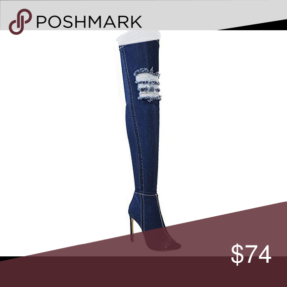 Knee High jean heel open toe.. sizes 7-9 Open toe knee high heel Shoes Heeled Boots