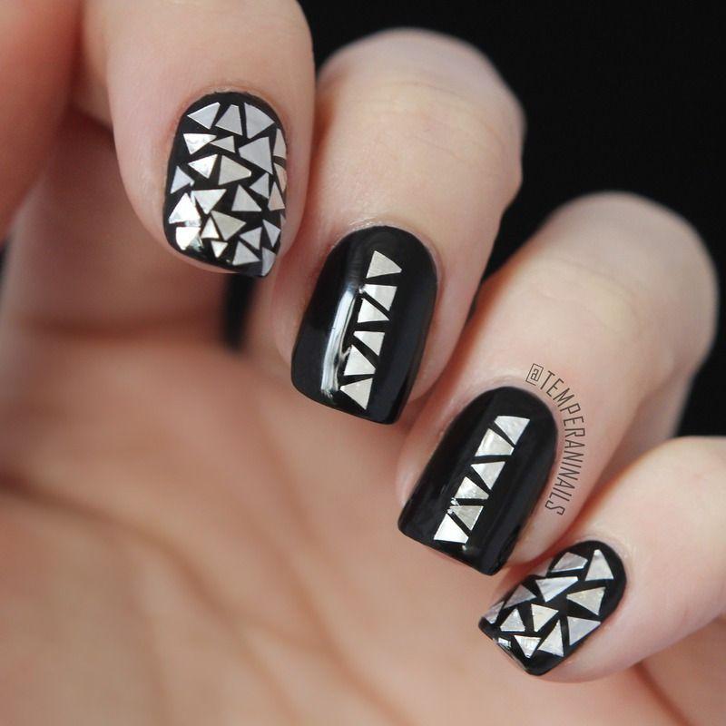 Aluminum Foil Flakes Nail Art By Temperani Nails Manic Manicures