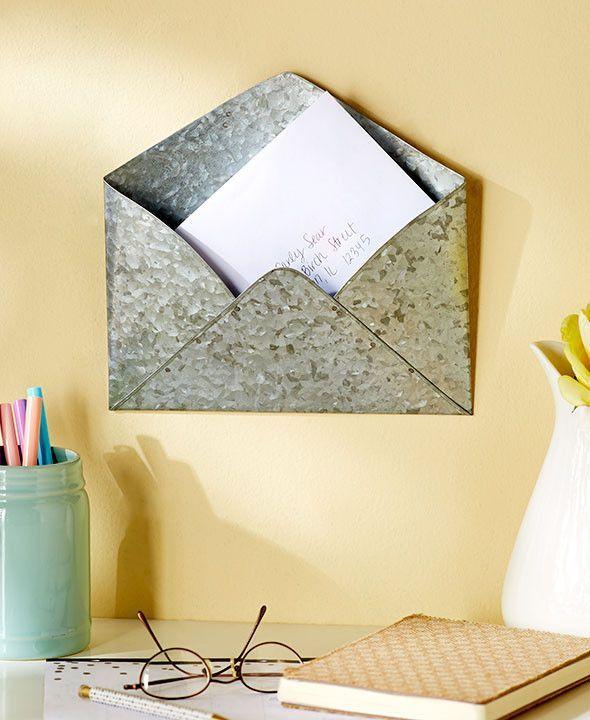 Metal Envelope Wall Hanging Decorative Functional Sculpture Pocket ...