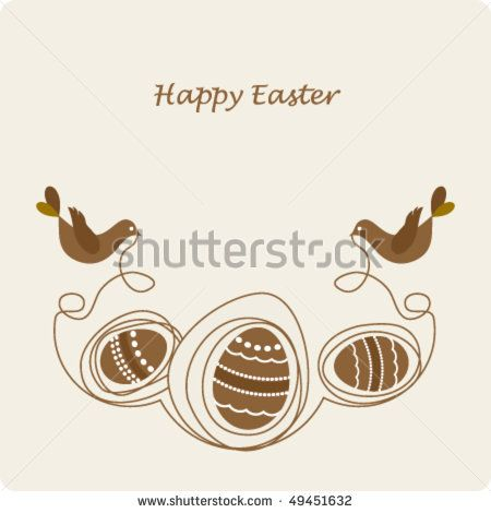 Easter Card Template  Cute Birds With With Eggs  Stock Vector