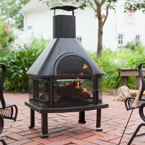 Extra Large Steel Outdoor Chiminea Smokestack Fireplace With Cooking