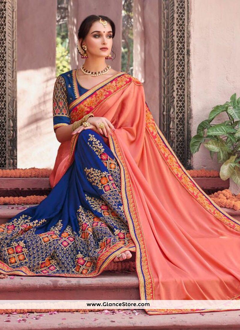 3feabfeab9 Auspicious Fancy Fabric Navy Blue And Peach Patch Border Work Designer Half  N Half Saree