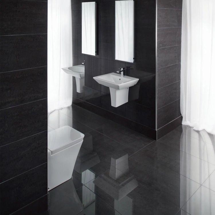 Rak Ceramic Lounge Tiles Black Tile Bathrooms Black Floor Tiles Black Bathroom