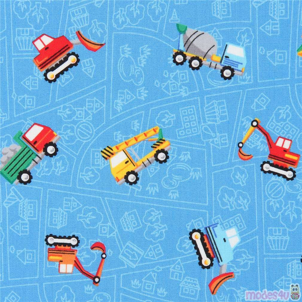 blue with colorful construction vehicle transport poplin