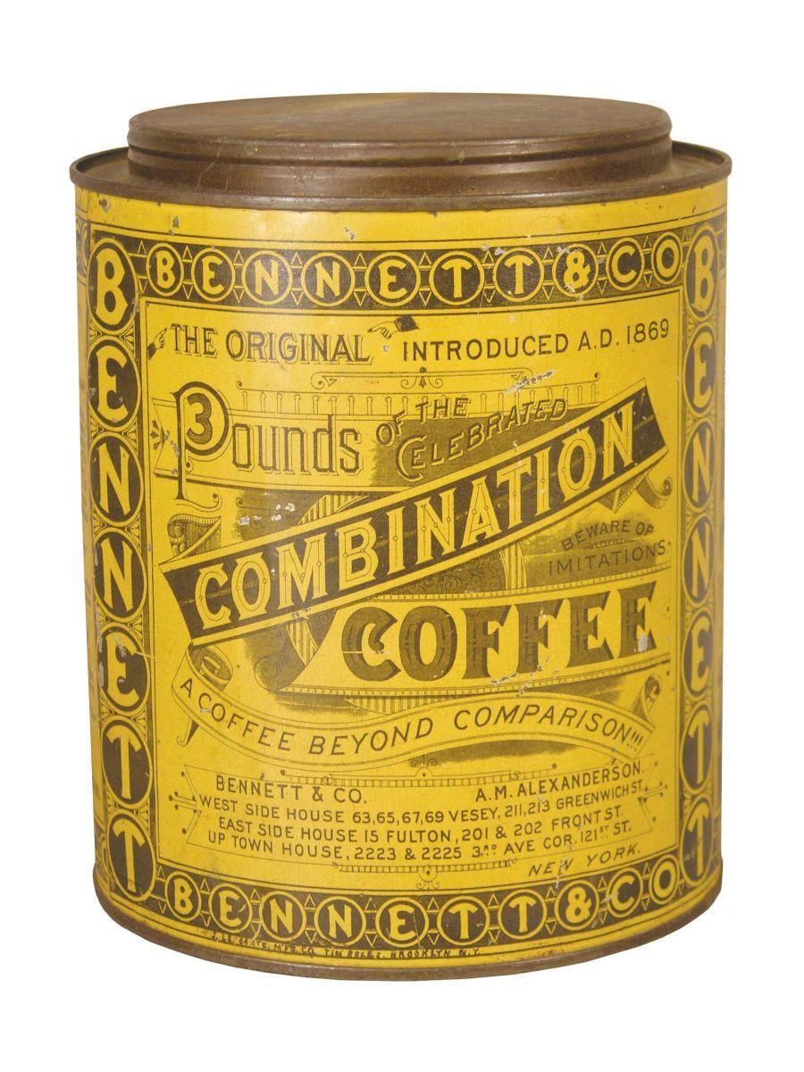 Fabulous early tin litho Combination Coffee tin late