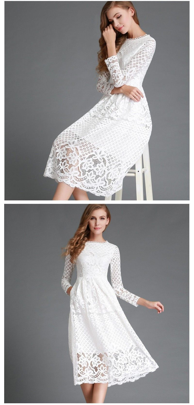 3c723b6d0 2016 Fashion - White Lace Dress with Long Sleeve