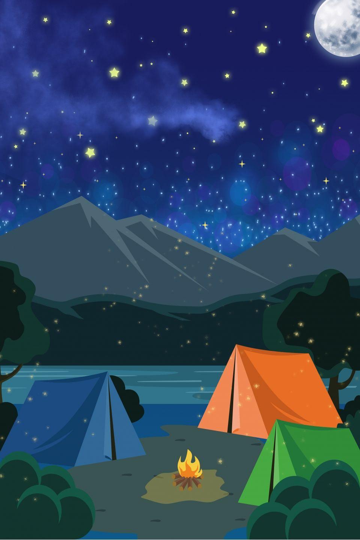 Beautiful Starry Night Camping Background